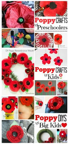 A fantastic set of Remembrance Day Activities. Grouped by age - you will find Poppy Crafts for Preschoolers, Poppy Crafts for Kids and Poppy Crafts for older kids or adults. Includes information about why we commemorate the fallen with the Poppy as a symb Poppy Craft For Kids, Easy Crafts For Kids, Toddler Crafts, Art For Kids, Summer Crafts, Autumn Crafts For Adults, Creative Crafts, Remembrance Day Activities, Remembrance Day Poppy
