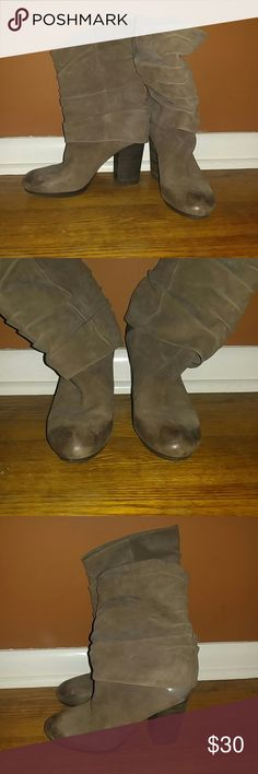Vince Camuto Fold Over Booties Size 8.5 Taupe color, suede/leather material 3 1/2 inch heel Burn out detail on tip of boots  Barely worn, a little chip on inside of one heel, hardly noticeable Vince Camuto Shoes