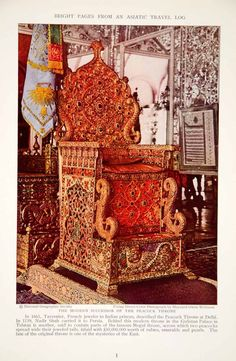 1932 Print Peacock Throne Gulistan Palace Tehran Royalty Historical Im - Period Paper Jaisalmer, Udaipur, Indian Furniture, Silver Furniture, Royal Furniture, Furniture Design, Royal Throne, Teheran, Throne Room