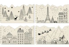50 of the most beautiful Christmas gift wrapping ideas (with stacks of free printables!) Berry Christmas gift wrap Another example of when less is more. Christmas Doodles, Christmas Mood, Christmas Paper, Christmas Crafts, Christmas Window Decorations, New Years Decorations, Christmas Printables, Christmas Activities, Paris Cards