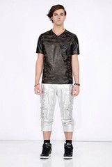 DANIEL WON COLLECTION - NEIL PANT - SILVER LAMBSKIN WITH LASER ETCHED CAMO