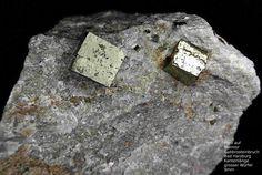 Pyrit auf Marmor-----------------------Harzer Gabbro-Steinbruch der Norddeutsche Naturstein GmbH, Bad Harzburg, Niedersachsen, Germany, Copyright © H. Stoya