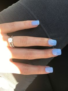 Light Blue acrylic dipped nails