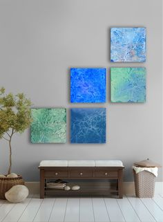 April rain Abstract Painting, 5 square CUSTOM abstract Wall Art, Large abstract artwork, Blue, Silver,Gray,Colbolt, White, Peacock blue,