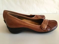Hush Puppies Shoes Brown Leather Slip On Wedge LoafersWomens Size 10M #HushPuppies #LoafersMoccasins #Casual