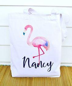 Look at this #zulilyfind! White Personalized Water Flamingo Canvas Beach Bag #zulilyfinds