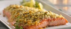 Lemon Parmesan-Crusted Salmon - Made this from my wedding cookbook and it might be my new favorite salmon recipe! I cut the recipe in half since my 2 salmon fillets were the size of 1 of theirs, but it made a little too much even then. I also used panko instead of white bread. Make it, and don't leave out the green onions!