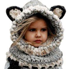 Amazon.com : FEITONG Fashion Cute Winter Warm Wool Knitted Fox Hats Baby Boys Girls Kids Shawls Hooded Cowl Beanie Caps : Baby