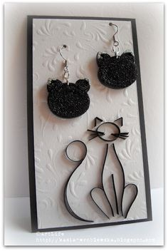 Quilled cat earrings and cat outline - pretty!