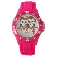 two cute owls red hearts watch