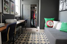 love the dark gray walls | Office / Second Bedroom: The final layer - Go Haus Go