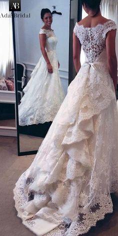 Elegant Tulle & Satin Off-the-shoulder Neckline A-line Wedding Dresses With Lace Appliques