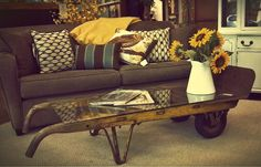 What a cool idea! An old industrial dolly with a piece of glass as a coffee table.  Price: $295 Vintage Industrial Furniture, Industrial Chic, Sofa End Tables, Coffee Tables, Moving Dolly, Antique Booth Ideas, Repurposed Wood, Living Room Remodel, Repurposing
