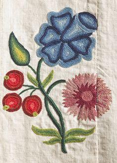 Embroidery detail from Robe à la française, ca 1760 (textile ca 1750) France, LACMA