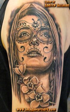 day of the dead tattoos   Day of the dead girl and flowers by asussman
