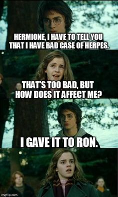 Horny Harry | HERMIONE, I HAVE TO TELL YOU THAT I HAVE BAD CASE OF HERPES. THAT'S TOO BAD, BUT HOW DOES IT AFFECT ME? I GAVE IT TO RON. | image tagged in memes,horny harry | made w/ Imgflip meme maker