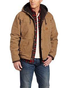 f23fb9d6d3a Men s Sherpa Lined Sandstone Hooded Multi Pocket Jacket J284 Mens Winter  Coat