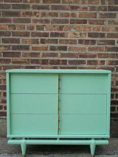 furniture makeover - mint green dresser