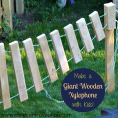 Xylophones and Outdoor Music via Child Central Station - We love our xylophone and the children take so much pride in playing it because they helped to make it! The xylophone is made out of scrap pieces Natural Playground, Backyard Playground, Playground Ideas, Backyard Games, Outdoor Play Spaces, Outdoor Fun, Outdoor Games, Music Garden, Sensory Garden