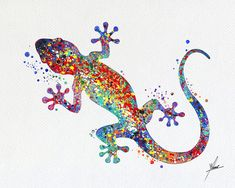 Gecko illustrations de lézard Art Print aquarelle par PainterlyDots