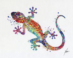 Gecko illustrations de lézard Art Print aquarelle par PainterlyDots