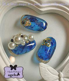 サイドエッジパール&琥珀・ブルーアンバー の画像|ネイルアーティスト ageha ネイルデザインブログ