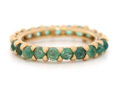 my favorite color!   Emerald Rapunzel Ring 18Y w rosecut stones