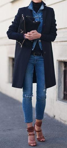 Winter Chic: 40 Stellar Street Style Outfits to Copy Right Now Winter Chic, Chic Winter Outfits, Autumn Winter Fashion, Autumn Style, Winter Wear, Cool Outfits, Fall Winter, Fashion Moda, Denim Fashion