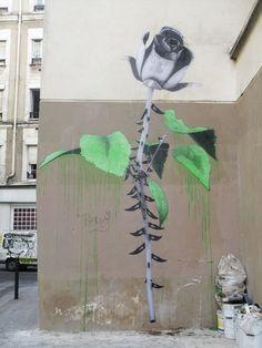 Street Art by Ludo in Paris. Street Art Utopia, Murals Street Art, Street Art Graffiti, Street Art Love, Sidewalk Art, Building Art, Street Artists, Public Art, Urban Art