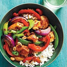 Sweet-Spicy Chicken and Veggie Stir-Fry: This colorful chicken and veggie stir-fry features a sweet-spicy sauce and a topping of dry-roasted peanuts, which add delicious crunch.
