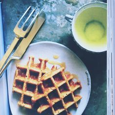 Pretending this is my breakfast!  Waffles from @amychaplin cookbook! #athomdinthewholefoodkitchen #amychaplin #breakfast #cookbook #foodblogger #waffles #vegetarian #CelebratingTheArtOfEatingWell #vegan #yum #inspiration #mustbuy #goodreads #whenobjectswork #johnpawson #cutlery #tableware... Might sound weird but the paper everything is pronted on is amazing!!