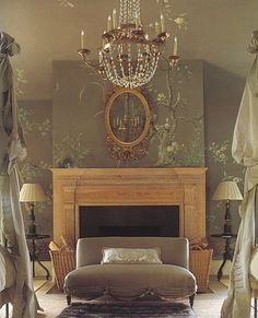 skip the fussy curtains and furniture, keep the wallpaper, mantel, mirror, chandelier