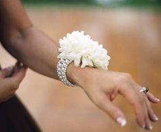 football mum with pearl bracelet wrist corsage
