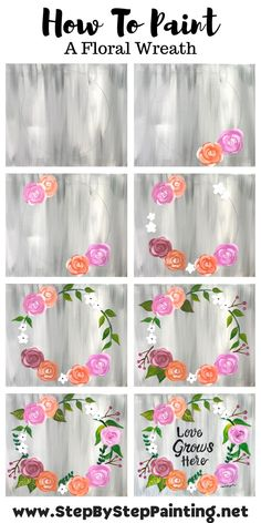 Online Painting, Diy Painting, Canvas Painting Tutorials, Painting Techniques, Painting Flowers Tutorial, Happy Paintings, Awesome Paintings, Floral Paintings, Canvas Paintings