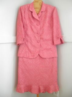 Womens Peach Leaf Pattern 3/4 Sleeve Blazer & Skirt Suit Sz.10 By Leslie Fay #LeslieFay #SkirtSuit
