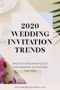 2020 Wedding Invitation Trends - letterpress with thick cotton cardstock, minimalist design, white ink envelope addressing, and more! Check out our favorite wedding detail ideas for 2020!