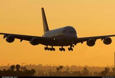 Sunrise arrival of a Qantas A380 in Los Angeles - Google+