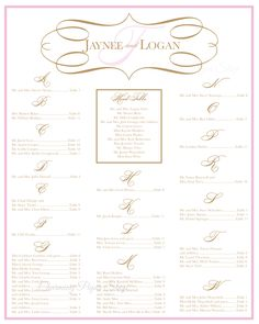 Wedding Seating Board, pink and gold wedding.  Digital File - easy and inexpensive from Charming Paper Shop