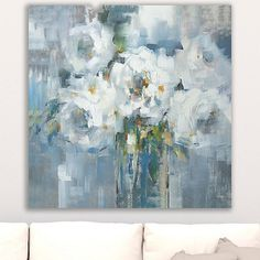 Add some calming and soothing tones onto your wall with our White Rose Giclee Canvas Art Print. The special giclee printing will make this a unique stand out. Abstract Flowers, Abstract Art, Painting Flowers, Abstract Watercolor, White Roses, Painting Inspiration, Canvas Art Prints, Art Projects, Drawings