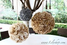 How to Make Party Poms from coffee filters!!