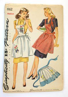 1d64a59a3b889 Simplicity 1162 1940s Vintage Apron Pattern sz M Bust 36-38 Half Apron  Sewing Pattern