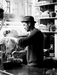 barista making coffee, black and white barista
