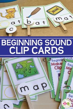 Use these CVC Beginning Sound Clip cards to help your kids hear and see the beginning sounds in words. They will love this hands-on early literacy activity. Letter Sound Activities, Word Family Activities, Rhyming Activities, Kindergarten Activities, Group Activities, Kindergarten Classroom, Emergent Literacy, Early Literacy, Special Education