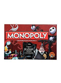 What's this?<div><br></div><div>The world's most popular board game teams up with the frightful cult classic to bring you Tim Burton's <i>The Nightmare Before Christmas Collector's Edition</i> of Monopoly. Players can become the King of Halloween Town as they buy, sell and trade popular movie locations such as Zero's Tomb, Spiral Hill, Dr. Finkelstein's Laboratory and Jack's Tower in a quest to own it all.</div><div><br></div><div>It's Monopoly fun worth screaming about!</div><div><br>...
