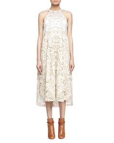 Embroidered+Linen/Cotton+Lace-Contrast+Halter+Dress+by+Chloe+at+Neiman+Marcus.