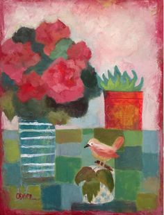 "Daily Painters Abstract Gallery: Contemporary Abstract Bold Expressive Art Painting ""Bird Jar"" by Santa Fe Artist Annie O'Brien Gonzales"