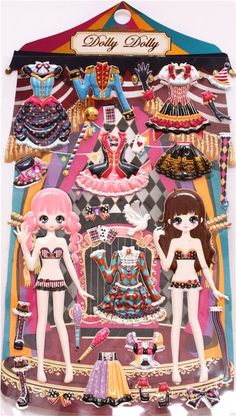 circus girls dress up doll puffy sponge stickers - Cute Stickers - Sticker - Stationery - kawaii shop modeS4u