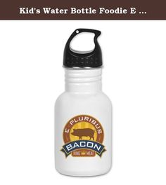 Kid's Water Bottle Foodie E Pluribus Bacon King of Meat. Product Number: 0001-1756945061 Perfect for school lunches or soccer games, our kid's stainless steel water bottle quenches children's thirst for individuality. Personalized for what kids love, it's both eco-friendly and compact. Made of 18/8, food-grade stainless steel. * No lining & no BPA or other toxins * Wide mouth for easy drinking * Durable, BPA-free & phalate-free screw-on top * Holds 0.35L (nearly 12 ounces) * Thin profile…
