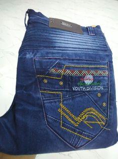 Imagen relacionada Jeans Pocket, Color Jeans, Denim Jeans, Mens Fashion, Embroidery, Pants, Design, Templates, Moda Masculina