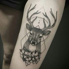 Deer geometry tattoo #713club #deer #deertattoo #dotworktattoo #blacktattoo…